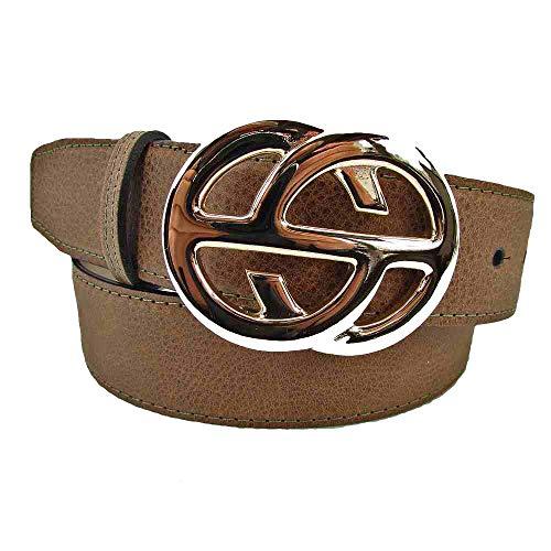 MABEL Damengürtel 4 cm breit mit Schmuck Gürtelschließe (80, Taupe)