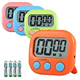 Hhyoisn 4 Pack Digital Kitchen Timer, Cooking Timers, Simple Operation, Large Display, Loud