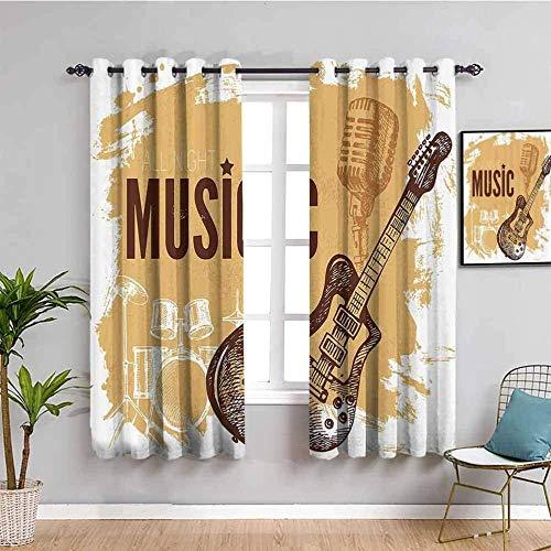 LucaSng Cortinas de Opacas - Amarillo dibujos animados guitarra música instrumento - 280x160 cm - para Sala Cuarto Comedor Salon Cocina Habitación - 3D Impresión Digital con Ojales Aislamiento Térmico