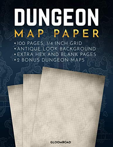 Dungeon Map Paper: 100 Textured Background Pages 1/4 inch Grid ; RPG Map Making Notebook with Old Parchment Looking Interior ; For Map Drawing, Campaign Planning and Taking Notes.