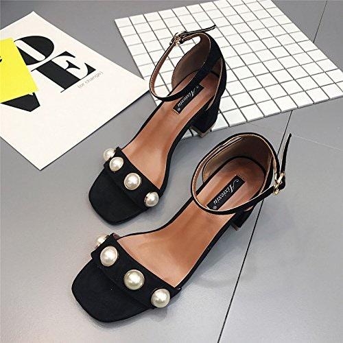 ZHUDJ Sandales Sandales D'été avec Mot Grossier Perles avec Boucle Chaussures Femme