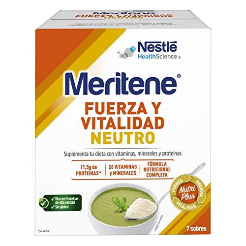 Meritene FUERZA Y VITALIDAD - Suplementa tu nutrición y refuerza tu sistema inmune con vitaminas, minerales y proteínas - SABOR NEUTRO - Suplemento Alimenticio Estuche (7x50g)