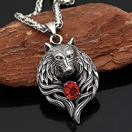 Dixinla Nordic Vintage Animal Amulet, Men Necklace Punk Celtic Wolf Head Totem Rhinestone Titanium Steel Three-Dimensional Pendant Choker Gift, with Chain Length 60Cm,Red,Wheat Chain