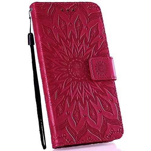 Ysimee Coque Compatible avec Huawei Mate 20 Fleur Portefeuille en Cuir Etui de Protection avec Fentes de Cartes Fermeture Magnétique Fonction Stand Case Couverture à Rabat Housse,Rouge