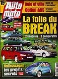 ACTION AUTO MOTO [No 55] du 01/04/1999 - LA FOLIE DU BREAK 21 MODELES - 5 COMPARATIFS FIAT PALIO WEEKEND RENAULT KANGOO VOLKSWAGEN PASSAT BMW 520I TOURING CITROEN BERLINGO RENAULT MEGANE FORD FOCUS CLIPPER VOLKSWAGEN - LES PROJETS SECRETS AUTO ET VILLE - QUELLE EST L' ALTERNATIVE OPTION ABS - VRAIMENT INDISPENSABLE -
