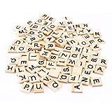 Letras de madera, letras y números para rompecabezas con letras del alfabeto inglés, 100 unidades