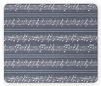 グレーのマウスパッド、リズムジャズソングのメロディート音記号の音符が入ったクラシックミュージッククレイ、長方形の滑り止めのゴム製マウスパッド、標準サイズ、ホワイトグレー
