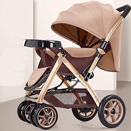 LOXZJYG Cochecito Convertible Compacto de un Solo Cochecito de Seguridad para niños pequeños, Carro de bebé para recién Nacido y niño, Cesta de Almacenamiento, área de Asiento Grande (Color : Marrón)