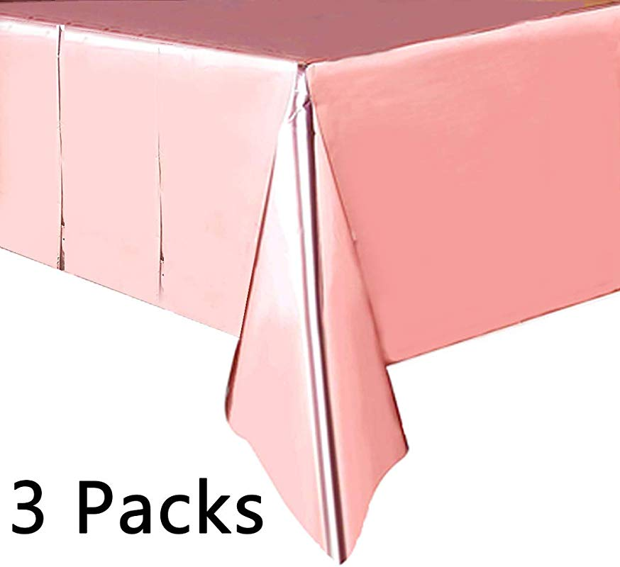3 Packs Rose Gold Tinsel Foil Party Table Cloth Rectangular Table Cover For Wedding Birthday Bachelorette Baby Shower Thanksgiving Christmas Party Supplies