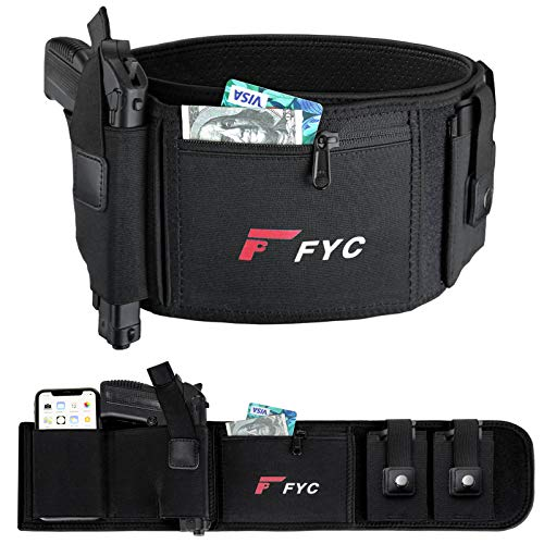 Belly Band Holster for Concealed Carry-Gun Holster for Women & Men, Upgraded Breathable Waistband Holster with Double Magazine Pouch, for Glock, Ruger LCP, Smith and Wesson, Sig Sauer, 1911, etc
