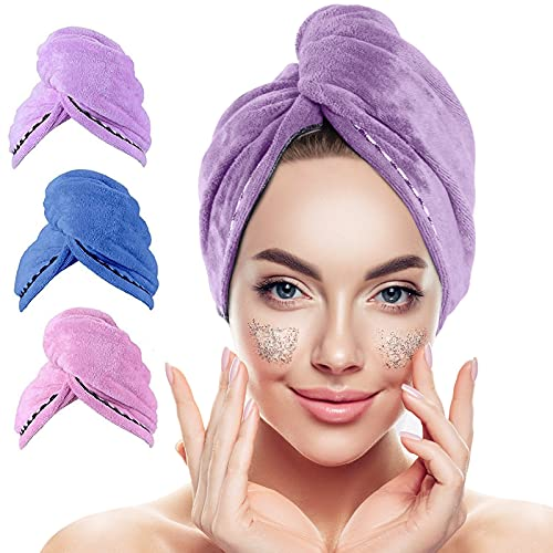 Microfiber Hair Towel,3 Packs Hair Turbans for Wet Hair, Drying Hair Wrap Towels for Curly Hair Women Anti Frizz,Super Absorbent Quick Dry Hair Turban for Drying Curly, Long & Thick Hair