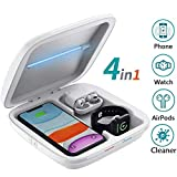 LEXONIX UV Wireless Charger Phone Cleaner, Smartphone Cleaning Multi-Function Box, 4 in 1 QI Wireless Phone Charging Station, Compatible with iPhone 11 Pro Max X Xs XR 8 Apple iwatch 5 4 3 Airpods Pro
