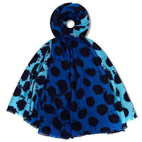 Cherist Warmer übergroßer Strickschal mit Punkte-Muster Blau. Kuscheliger Herbst und Winter Schal Poncho