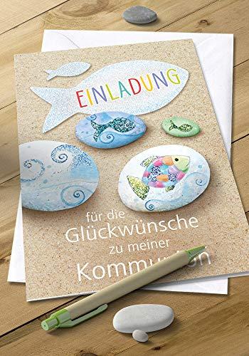5x Einladungskarten Kommunion - Einladung - Einladungskarten - Für Jungen & Mädchen - Mit Glitzer - DIN C6-5er Set Klappkarten inkl. Innentext & Umschläge - Motiv: Steine_E