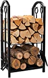 DOEWORKS Outdoor Indoor Log Rack with 4 Fireplace <span class='highlight'><span class='highlight'>Accessories</span></span>, Black Heavy Duty Steel Fireside Log Rack firewood storage,45x40x69cm