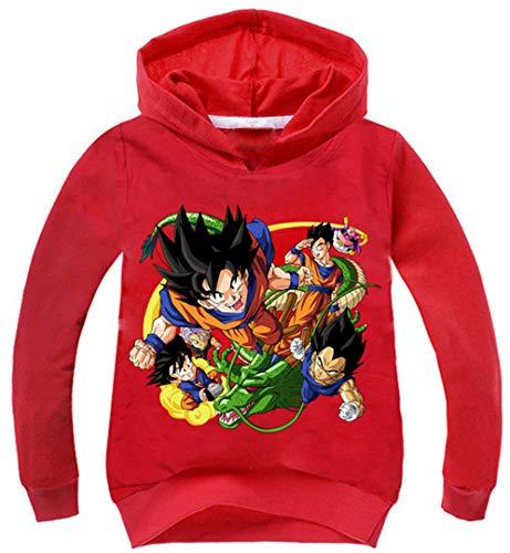 Silver Basic Jungen Kapuzenpullover Dragonball Super Saiyan Son Goku Hoodie Anime-Fans Kleidung Vegeta Sweatshirt (110 (Höhe 85-95cm), Rot)