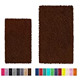 LuxUrux Bathroom Rug Set–Extra-Soft Plush Bath mat Shower Bathroom Rugs,1'' Chenille Microfiber Material, Super Absorbent (Rectangular Set, Brown)