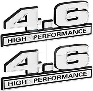 4.6 Liter V8 High Performance Engine Emblem in White & Chrome - 5