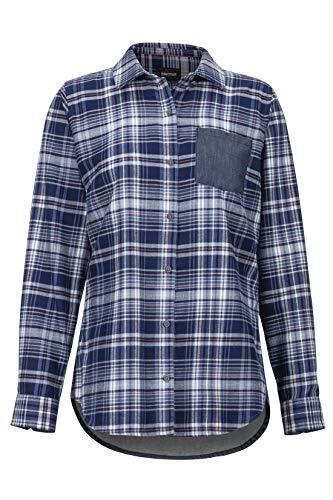 Marmot Damen Wm's Lakota LTWT Flannel LS Langärmliges Outdoor-Hemd, Wander-Shirt Mit Uv-Schutz, Atmungsaktiv, Bright Steel/Storm Chambray, L