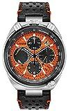 Citizen Men's Black Leather Band Steel Case Sapphire Crystal Eco-Drive Orange Dial Watch AV0078-04X