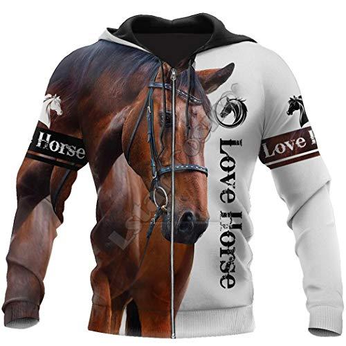 Animal Horse Sudadera con Estampado 3D Sudadera con Capucha con Cremallera Informal Chaqueta Divertida Unisex Ropa Zip Hoodie 7XL