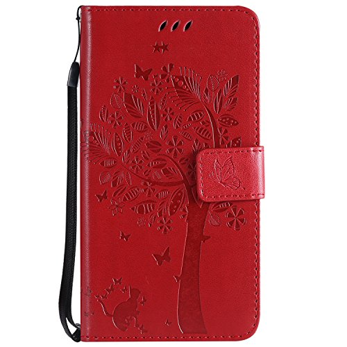 MAOOY Leder Hülle für Huawei Honor 6X, Huawei GR5 2017 Geprägtes Baum, Katze Muster Handyhülle, Handytasche mit Karte Halter, Kippständer und Magnetische für Huawei Honor 6X, Rot#