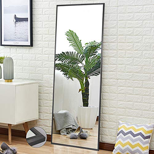 """Full Length Mirror Standing Hanging or Leaning Against Wall, Large Rectangle Bedroom Mirror Floor Mirror Dressing Mirror Wall-Mounted Mirror, Aluminum Alloy Wide Frame, Deep Gray, 65""""x22"""""""