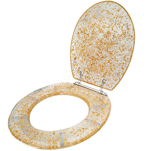 Toilet seat cover Resin Transparent pattern design V/U/O-Type Household Universal Slow-Close With Hinge Easy to Install Clean,Gold