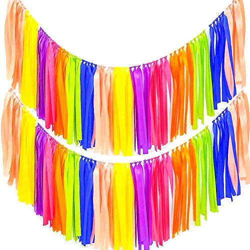 AZOWA Assembled Rainbow Tassel Garland Pack of 2 (40 in (L) X 14 in (H), Assorted Color)
