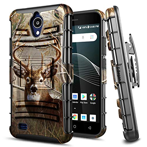 E-Began Case for AT&T AXIA (QS5509A), Cricket Vision, Belt Clip Holster with Kickstand Protective Hybrid Cover Heavy Duty Armor Defender Shockproof Rugged Case -Deer