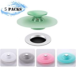 LHome 5 Packs Trap Hair Catcher, Shower Plug Bathtub Cover Silicone, 2-in-1 Drain Tub Stopper, Strainers for Floor, Kitchen, Laundry, and Bathroom