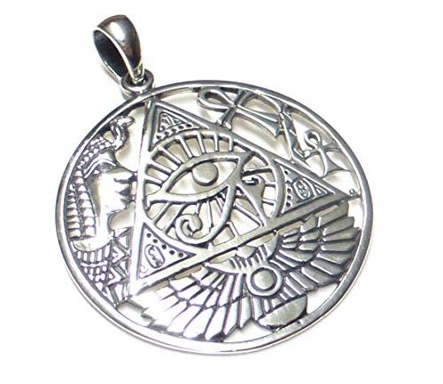 Anhänger Silber, Kettenanhänger, Motiv das dritte Auge, aus 925 Sterling Silber filigran gearbeitet, Geschenk, Schmuck, Schutzsymbol