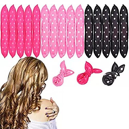 15 PCS Bigudíes para el cabello, rizadores de cabello de espuma flexibles de esponja, rizos para el cabello durante la noche, sin rulos de calor, herramientas de estilo DIY,Tricolor