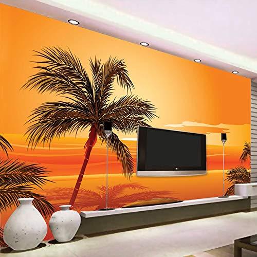 HGFHGD Autoadhesivo 3D Mural foto papel tapiz playa puesta de sol fotografía Fondo decoración de pared sala de estar papel de pared pegatina de pared arte de pared