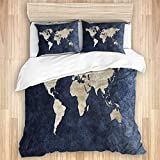 PASIANFU Bedding Juego de Funda de Edredón,Impresión del Arte del Mapa del Mundo Continental Azul Marino Amarillo,Microfibra (1 Cama 140x200 + 2 Almohada 50X80)