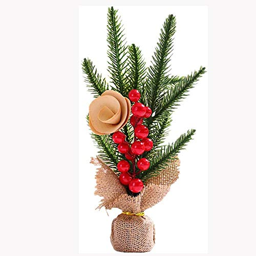 SHYPT Artificial Mini Pine Trees Tabletop Christmas Trees with Wooden Based with Ornaments Perfect for Table and Desk Tops (Color : A)