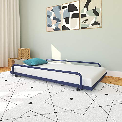 DHP Noa Trundle for Daybed, Metal Trundle Bed, Twin Size Frame with Casters, Blue