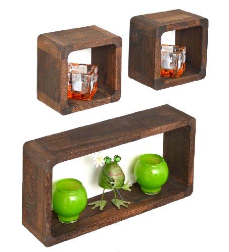 ts-ideen 3er Set Lounge Cube Regal Landhaus Stil Wandregal Hängeregal Massivholz in Shabby Dunkelbraun