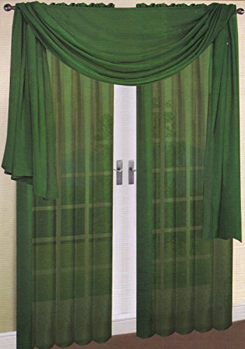 """Beautiful Elegant Solid Sheer Scarf Valance Topper 37"""" X 216"""" Long Window Treatment Scarves Many Colors for Room, Bedroom, Wedding, Women (Hunter Green)"""