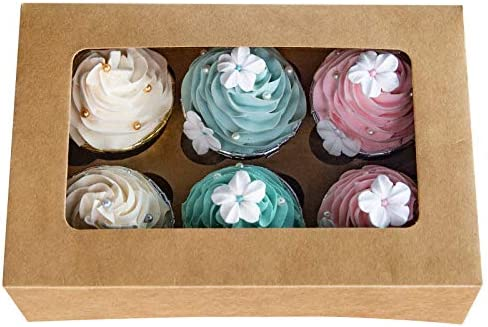 Cupcake Boxes with Inserts 6 Holders 9x6x3inch Large Brown Kraft Standard Bakery Boxes with product image