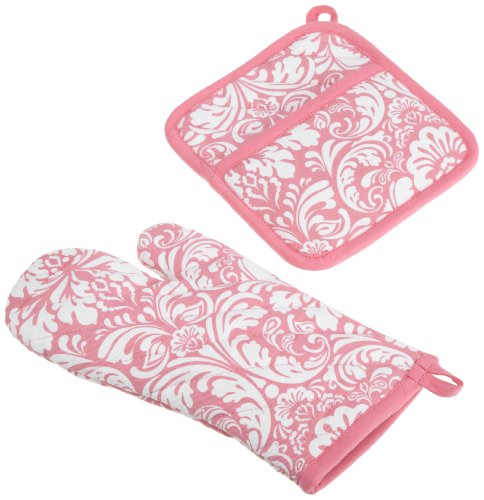 DII Cotton Damask Oven Mitt 12 x 6.5 and Pot Holder 8.5 x 8 Kitchen Gift Set, Machine Washable and Heat Resistant for Cooking and Baking-Pink