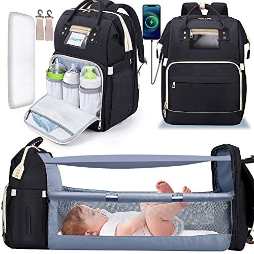 Gimars 3 in 1 Diaper Bag Backpack with Changing Station Bed, Travel Protable Bag with Insulated Milk Bottle Pocket,Foldable Bassinet Diaper Baby Backbag, Waterproof and Stylish, Black