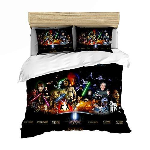 SSIN - Ropa de cama lisa de Star Wars, Star Wars, el despertar de la fuerza; juego con sábana bajera ajustable para niños, juego de 3 piezas Twin Size (12,220 x 260 cm).