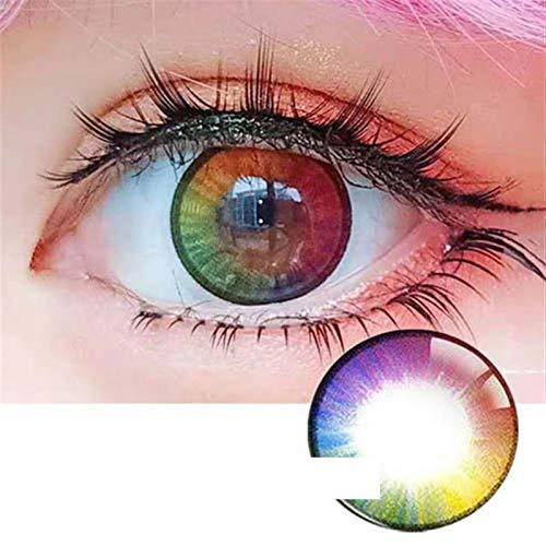 HOWWO Mode Regenbogen-Farbkontaktlinsen for Augen Cosplay Farbige Kontaktlinsenfarbe Brillen Optische Linse Maria Rainbow, 0.00 Dioptrien (Farbe : Maria Rainbow, Größe : 0.00)