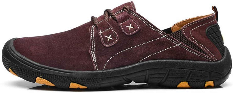 ZHRUI Men Genuine Leather shoes Autumn Winter Warm Fur shoes Sneakers Casual Fashion Walking shoes (color   Coffee, Size   8=42 EU)