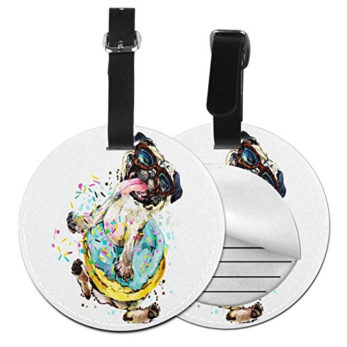 Luggage Tags Pug Dog Donuts 34 Suitcase Luggage Tags Business Card Holder Travel Id Bag Tag