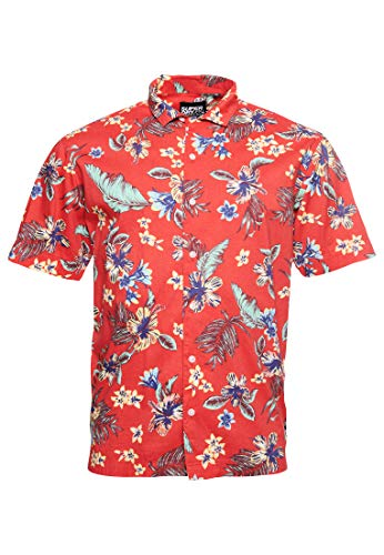 Superdry Herren Hawaiian Box S/S Shirt Freizeithemd, Rot (Vintage Tropical Red D5U), X-Large