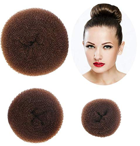 Styla Hair 3 Piece Donut Hair Bun Maker, (1 Small, 1 Medium, 1 Large) - Brown