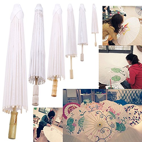 Chunshop Retro White Blank Chinese Paper Umbrella Parasol For Kids Painting DIY, Decorative Use Christmas Gift (15cm)
