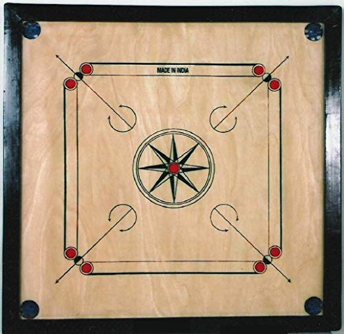 SAI Sports Engineered Wood Gloss Finish Full Size Carrom Board with Coins Striker and Boric Powder, Brown (Large 20 inch)